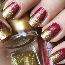 unhas decoradas ombré vermelho com glitter dourado para o Natal