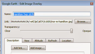 Google Earth Edit Image Overlay Properties screenshot showing Transparency slider.
