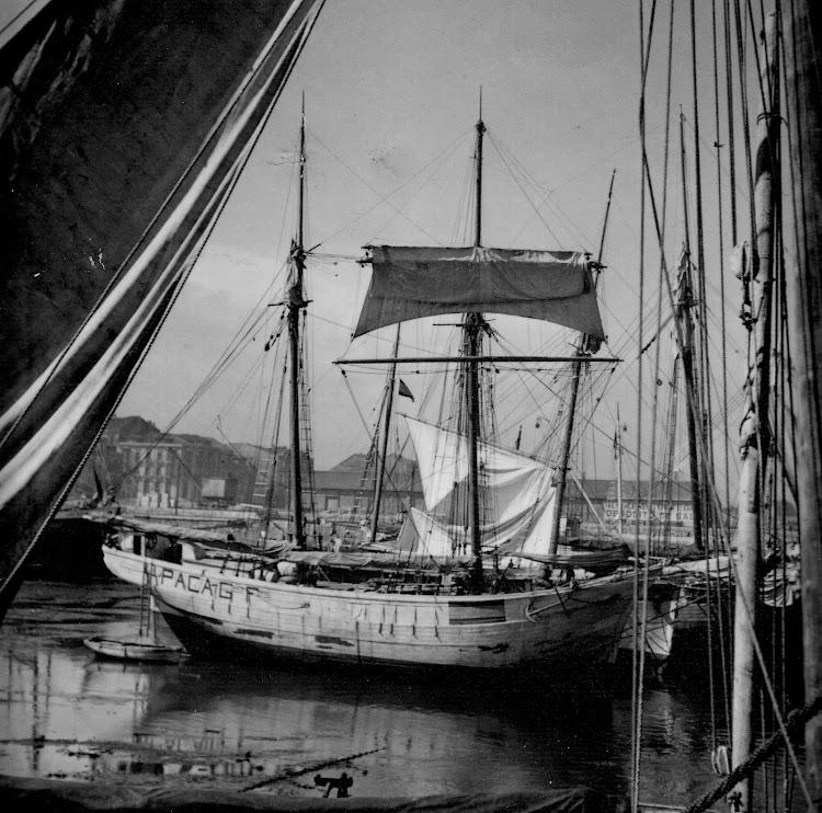 El pequeño bergantin goleta PACA GOMEZ con las marcas de neutralidad en el puerto de Barcelona. Probablemente durante la Gran Guerra.jpg