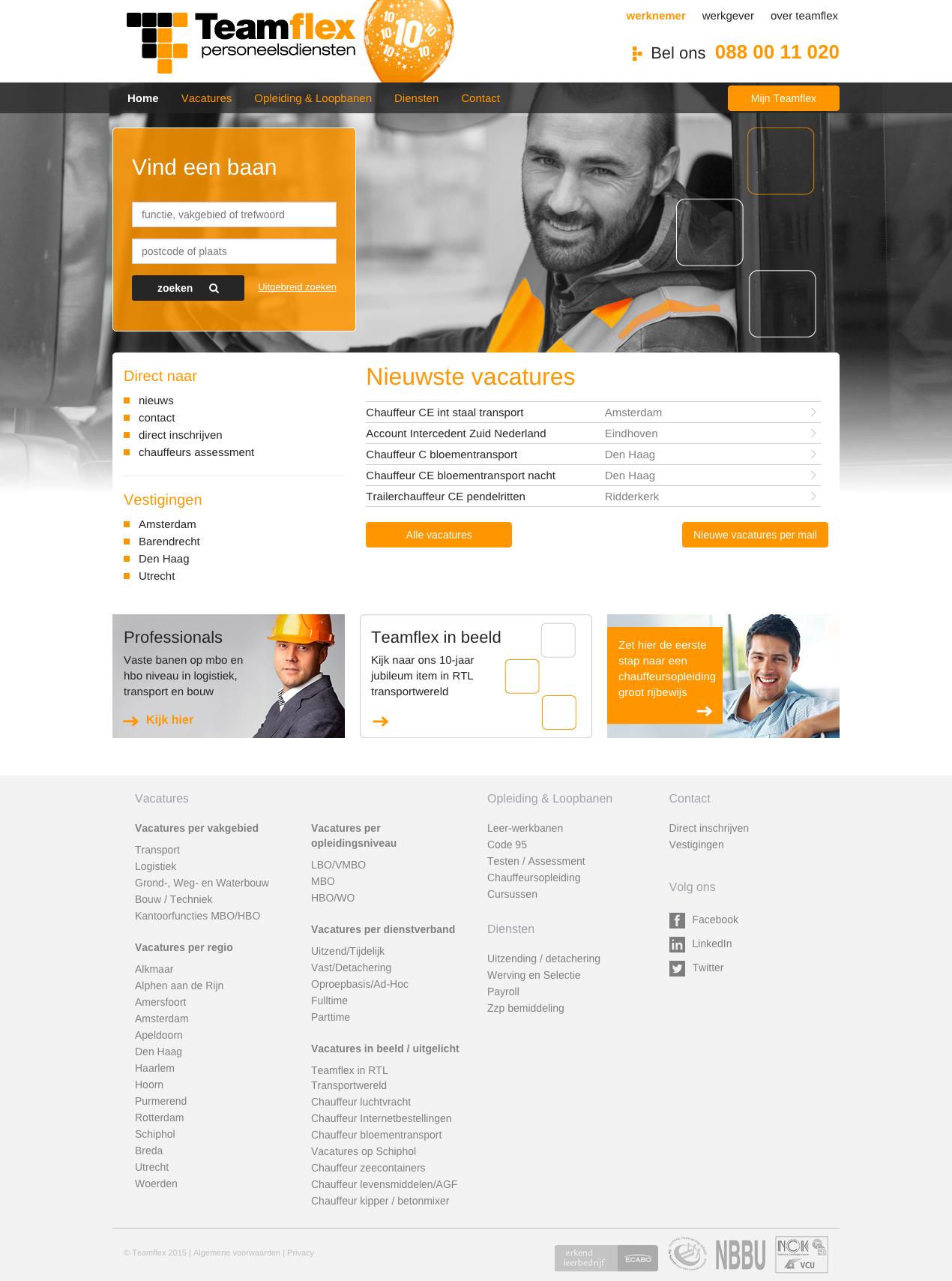 Advies, ontwerp en technische realisatie nieuwe website voor Teamflex personeelsdiensten: www.teamflex.nl Door: www.zuurstof.nl