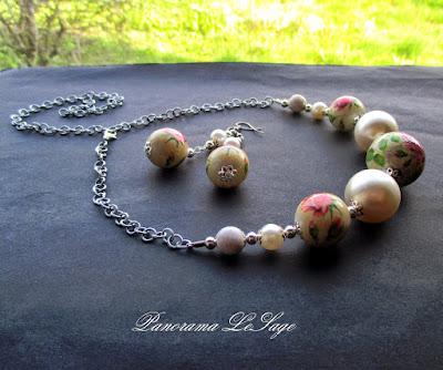 Panorama LeSage decoupage komplet naszyjnik korale kolczyki perły shabby chic handmade rękodzieło pastele biżuteria róże serwetki wzory