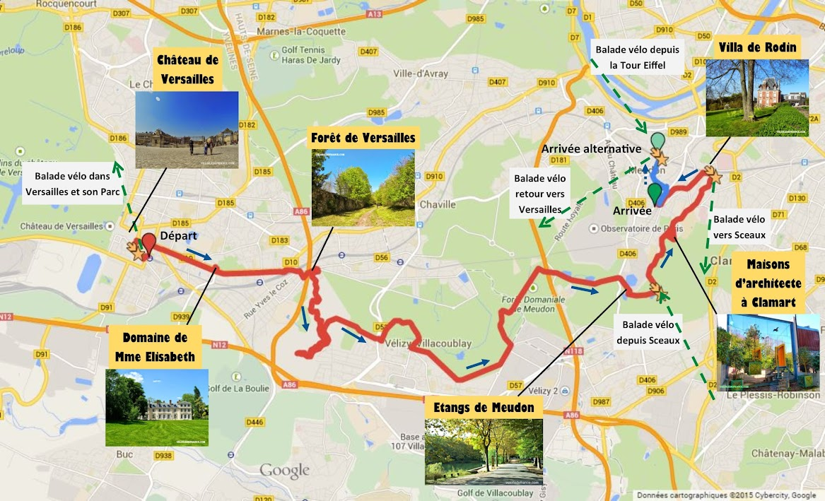 Tracé Balade à vélo de Versailles à Meudon par veloiledefrance.com