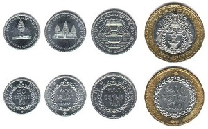 Gambar mata uang negara Kamboja koin kertas