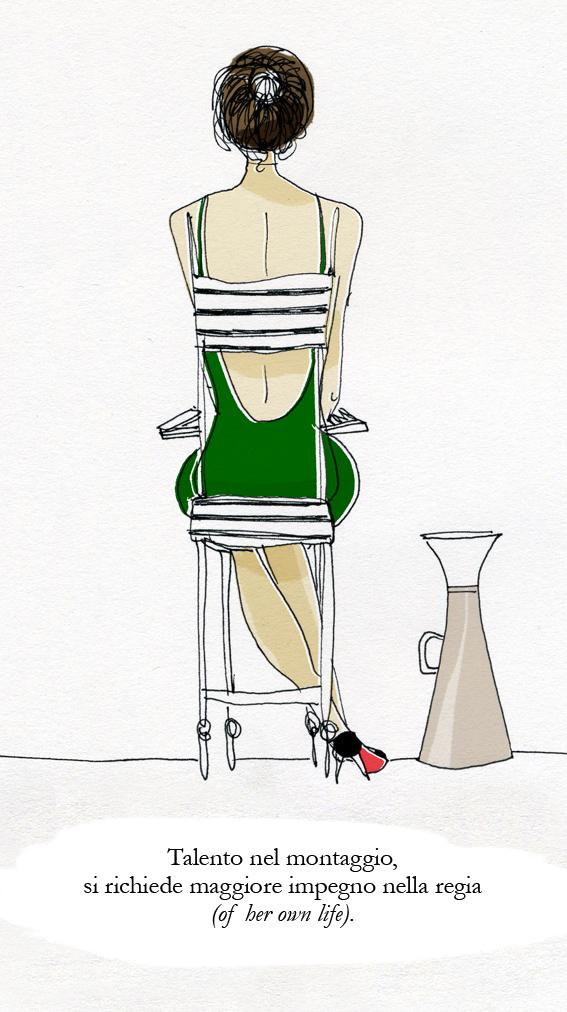 illustrazione fashion regista montaggio star