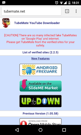Download Tubemate app from tubemate.net
