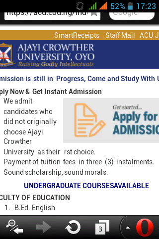 Ajiyi crowther university admission is still in progress
