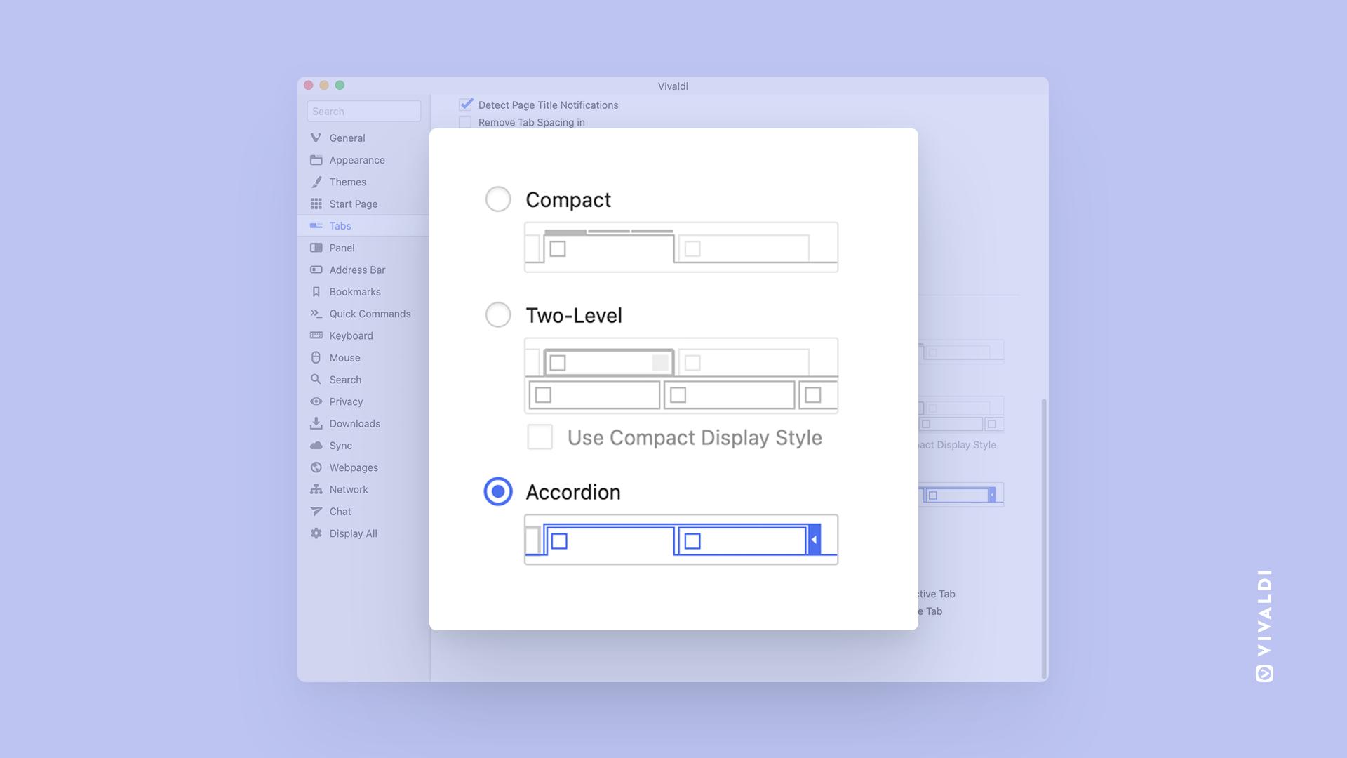 Vivaldi browser ottiene le schede a fisarmonica con l'ultimo aggiornamento