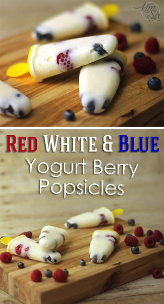 Three Ingredient Red White and Blue Yogurt Berry Popsicles