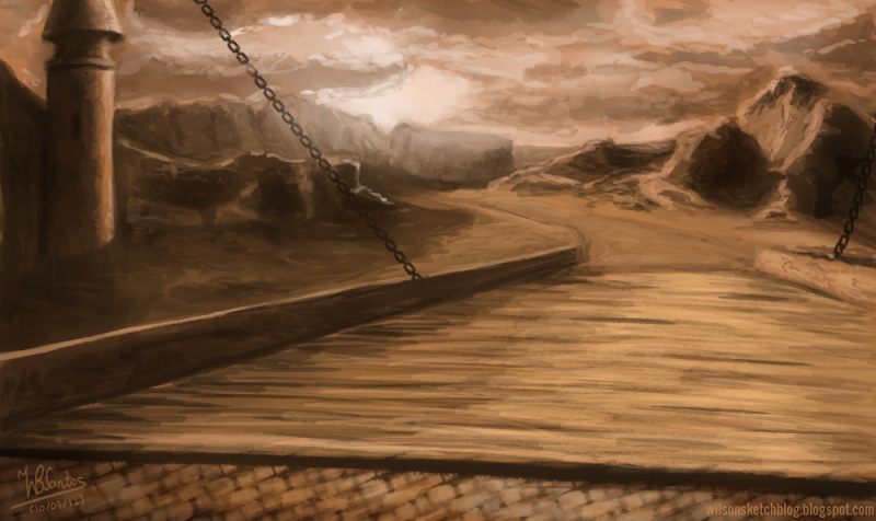Alice in Wonderland: Bridge, using Krita 2.5 Beta.