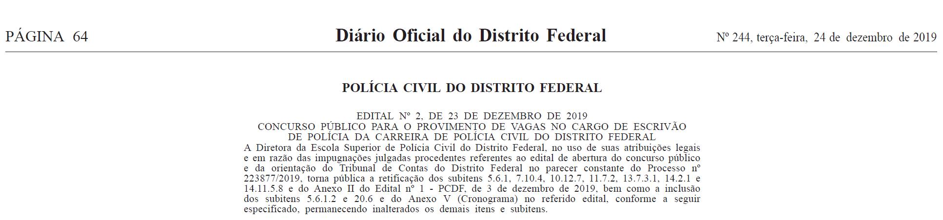 Concurso PCDF Escrivão: edital retificado
