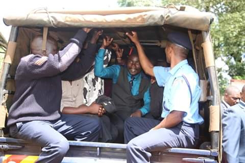Police arresting suspects hired by the said legislatures. PHOTO | BMS