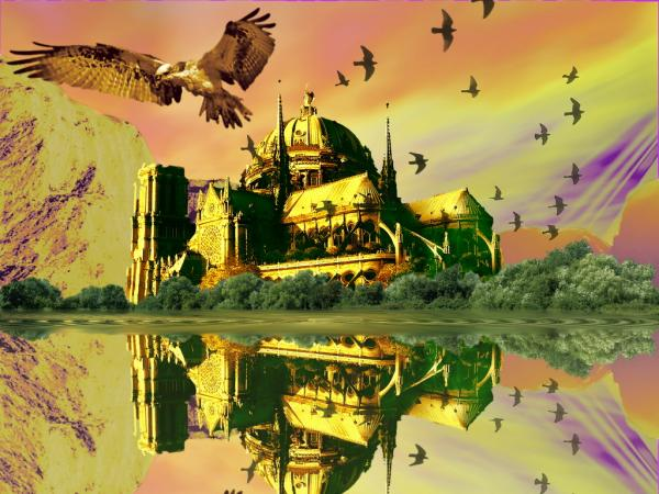 Eagle And Temple, Magical Landscapes 1