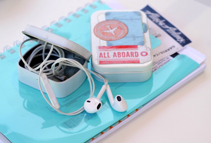 Upcycled Candy Tin for Ear buds