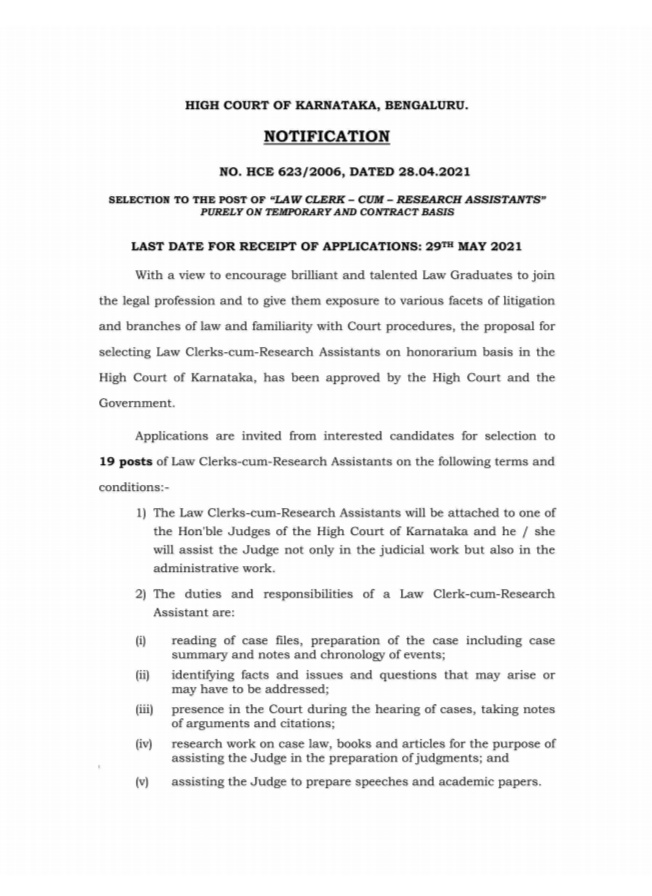 Karnataka High Court invites applications for appointment of 19 Law Clerk-cum -Research Assistance