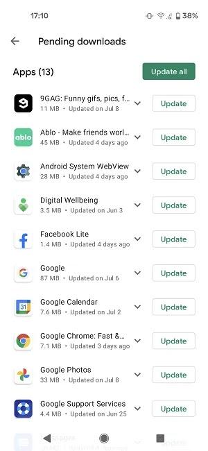 كيفية تحديث تطبيقات Android Play Store في انتظار التنزيلات