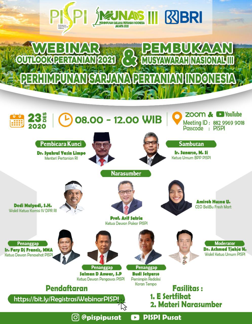 Meneropong Sektor Pertanian Indonesia Kedepan, PISPI Adakan Webinar dan Musyawarah Nasional