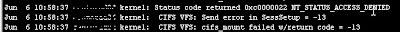 Cifs Error Windows 2008R2