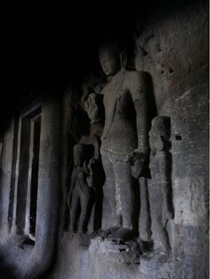 A sculpture of the buddha at Ellora