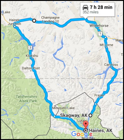 Road map from Haines to Skagway