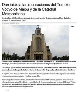 25-07-2011Dan inicio a las reparaciones del Templo Votivo de Maipú y de la Catedral Metropolitana _ Santiago _ LA TERCERA
