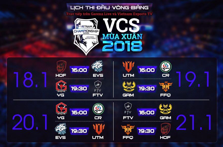 Lịch thi đấu vòng Bảng VCS Mùa Xuân 2018 tuần 1