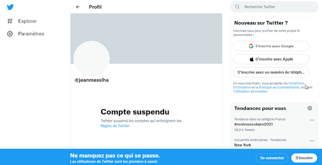 Jean Messiha - Twitter compte suspendu
