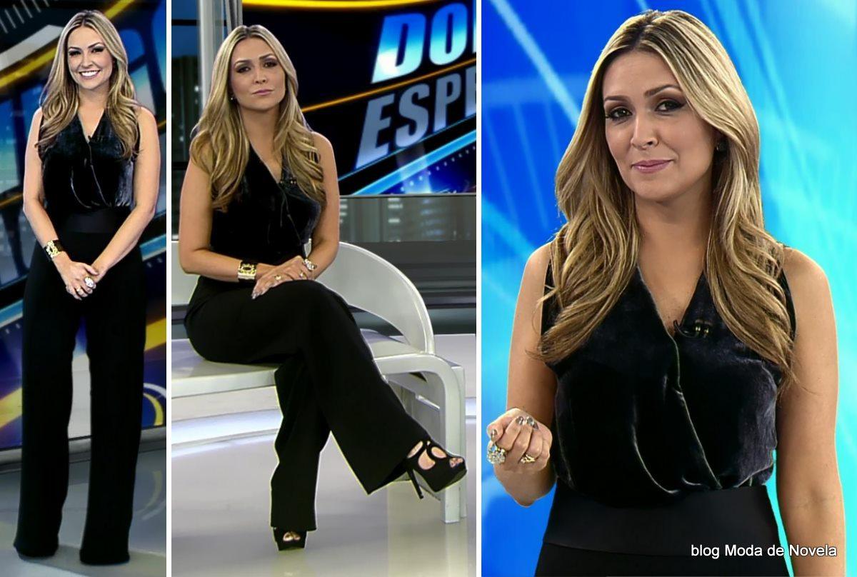 moda do programa Domingo Espetacular - look da Thalita Oliveira dia 8 de junho