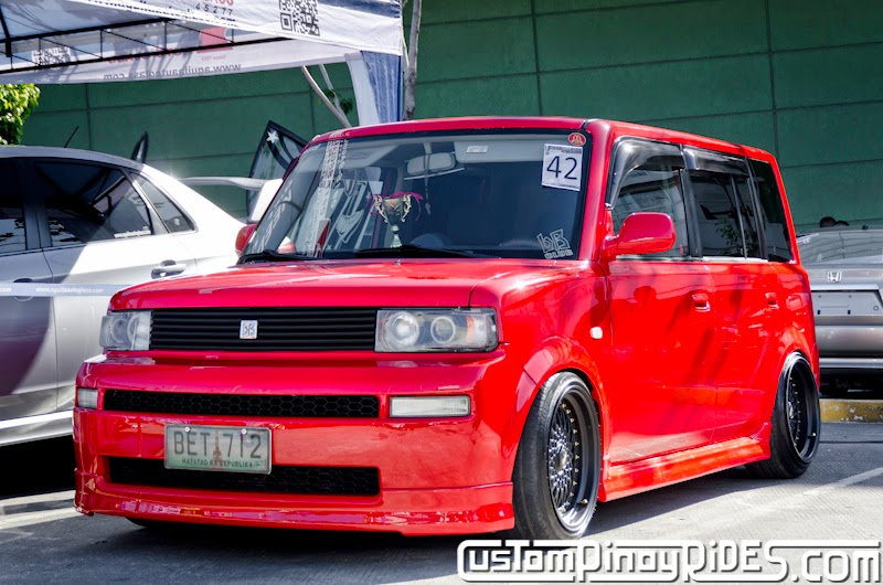 Red Toyota bB stanced on Black BBS RS Mesh Wheels Custom Pinoy Rides Car Photography Manila Philippines pic1