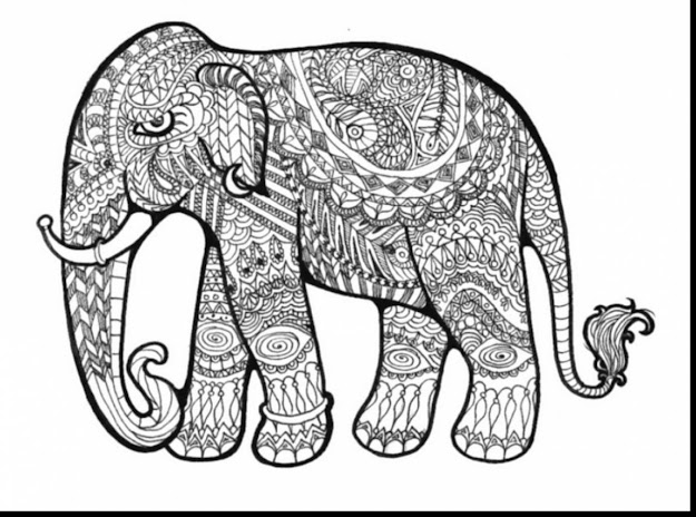 Best HD Adult Coloring Pages Elephant Drawing