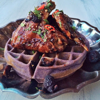 Fig-Soy Sauce Korean Fried Chicken with Ube Waffles.