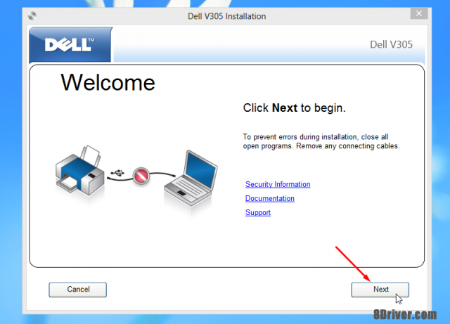 Click next to begin deploy Dell V725w driver