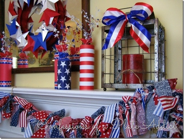CONFESSIONS OF A PLATE ADDICT Patriotic Mantel with Fun Rag Garland and Paper Star Wreath