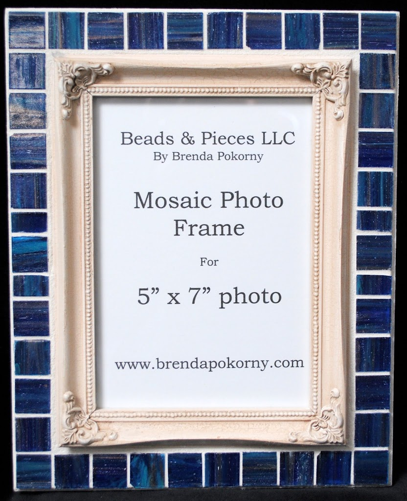 "5"" x 7"" Victorian Cream & Navy Mosaic Photo Frame MOF1442"