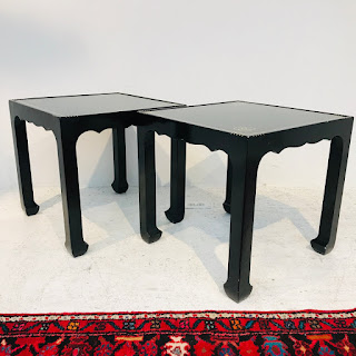 Lacquered Trefoil Knot Accent Table Pair