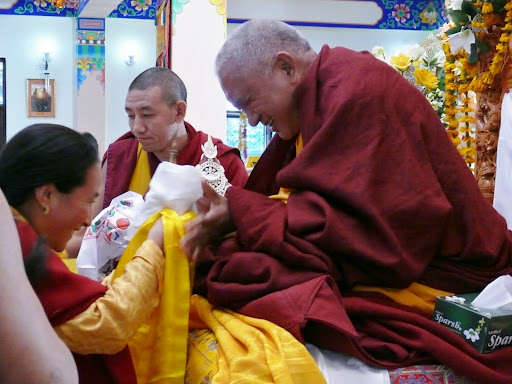 Khadro=la offering to Lama Zopa Rinpoche during long life puja at Tushita Retreat Center, December, 2011.