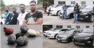 Photo :EFCC, Lagos Zonal office, on Saturday, April 7, 2018, arrested four suspected Internet fraudsters.