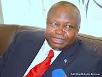 Le directeur général de la compagnie aérienne Congo Airways, Claude Kirongozi Ichalanga à Kinshasa, le 30/07/2015 lors de l'arrivée de l'Airbus A320. Radio Okapi/Ph. John Bompengo