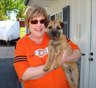 """Rosie"" with Mom, Nancy.Going home to meet her brother, Rory - another BT puppy from Rushwind."
