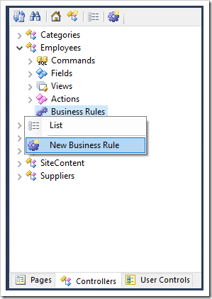 Creating a new business rule on Employees controller.