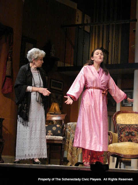 Joanne Westervelt and Stephanie G. Insogna in THE ROYAL FAMILY (R) - December 2011.  Property of The Schenectady Civic Players Theater Archive.