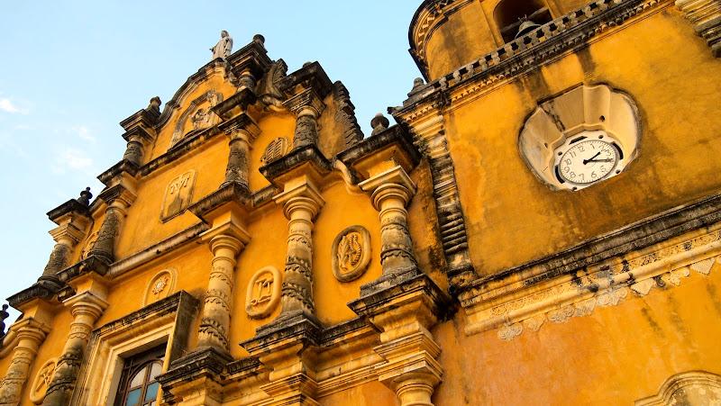 A yellow church in Leon, Nicaragua