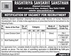 Rashtriya Sanskrit Sansthan Recruitment 2016 indgovtjobs