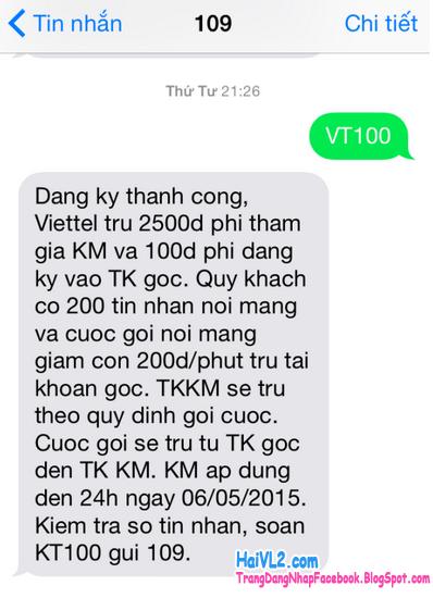 Đăng ký VT100 thành công