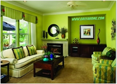 ruang tamu cat hijau