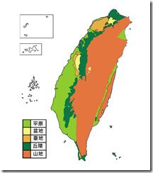 臺灣地形分布圖_彩無字