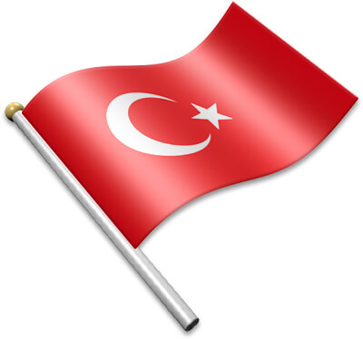 The Turkish flag on a flagpole clipart image