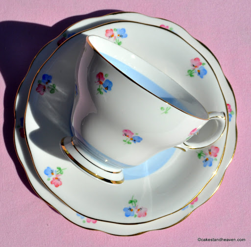 1940s vintage English bone china teacup trio