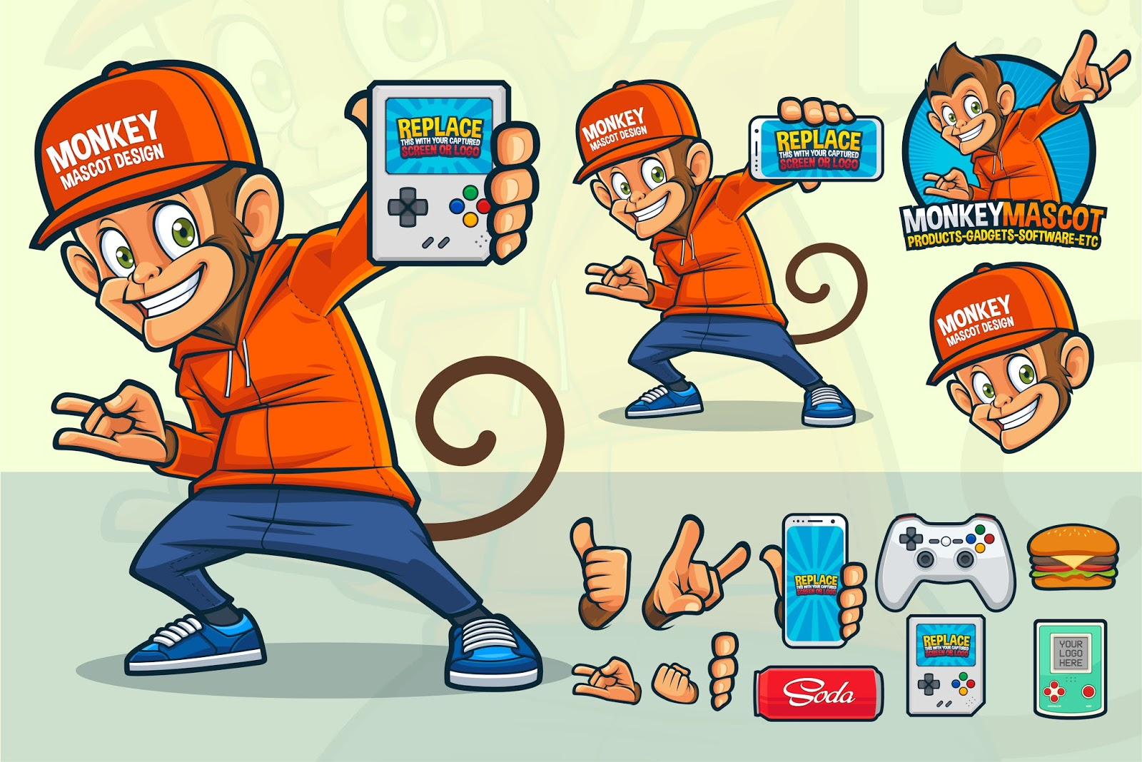 Monkey Mascot Video Game Store Other Products Free Download Vector CDR, AI, EPS and PNG Formats