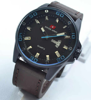 jam tangan Swiss army date day darkbrown leather blue.