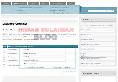Cara Membuat Halaman Disclaimer Untuk Blogspot